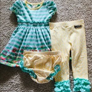 Matilda Jane Green Stripe Dress & leggings